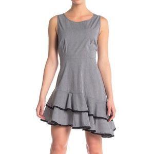 BB Dakota Asymmetrical Ruffled Sleeveless Dress